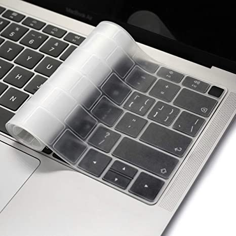Waterproof Silicone Keyboard Cover for New MacBook Air 13 Inch Touch Id 2018 A1932 New Keypad Cover Film US//Europe English,Transparent Clear