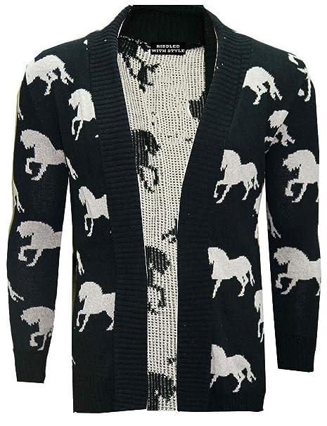 New Ladies Heart Horse Skull Knitted Open Front Sweater Boyfriend Long Cardigan
