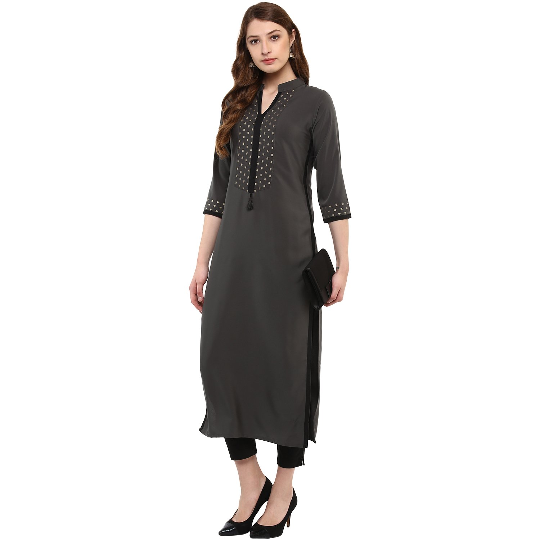 5f56452bc7b Ziyaa Women s Grey Colour 3 4Th Sleeve Crepe Straight Kurta  Amazon.in   Clothing   Accessories
