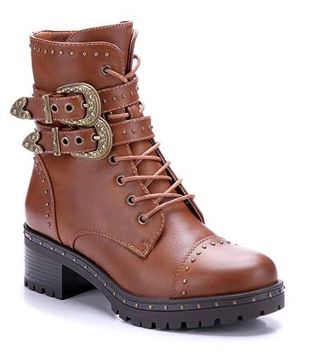 586be854186846 Schuhtempel24 Damen Schuhe Boots Stiefel Stiefeletten Camel Blockabsatz  Schnalle Nieten 5 cm