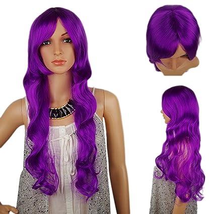 Spretty Natural Long Curly ondulado peluca mullida con color púrpura brillante para las mujeres Cosplay y