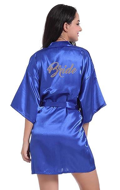 1b6ce98669a Scarlett Women s Satin Pure Colour Kimono Wedding Bride Party ...