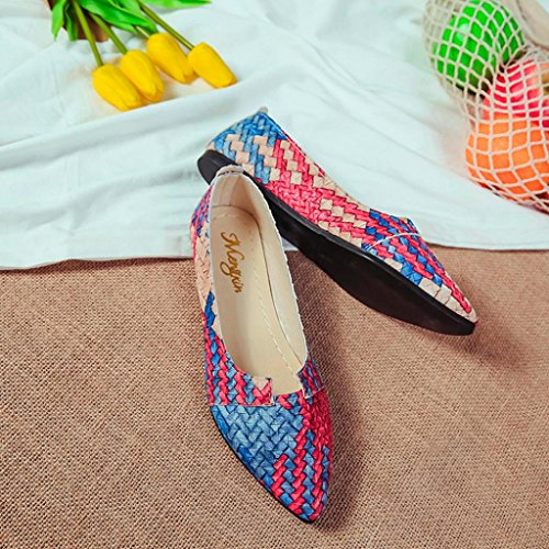 JIANGFU Flache Schuhe zeigte flache Mundschuhe einzelne Schuhe,Frauen Casual Multicolor All Seasons Ballett Slip On Flats Loafers Schuhe BU