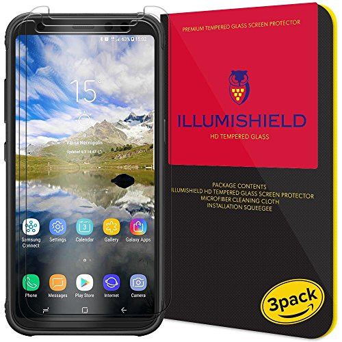 Galaxy S8 Active Screen Protector (3-Pack), iLLumiShield HD Clear Tempered Ballistic Glass Screen Protector for Galaxy S8 Active 9H Hardness Anti-Bubble Shield