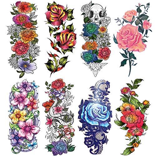 Oottati 8 Sheets Women Red Purple Blue Skull Flower Snake Leaf Temporary Tattoos for Arm