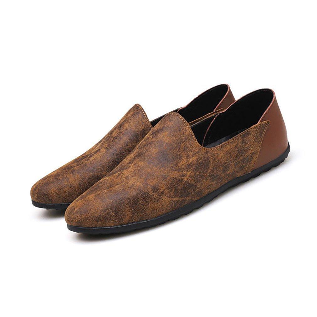 Herrenschuhe Casual Leder Oxfords Schuhe Kleid Loafers Schuhe Geschäft Flat Driving Schuhes (YAN),B,44