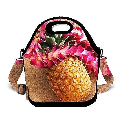 202596ad2dd6 Amazon.com - POP MKYTH Lunch Tote Pineapple Beach Pink Wreaths ...