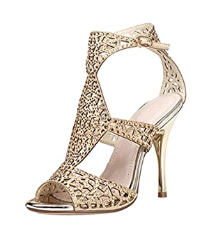 Women's Sparkle Crystal Cutouts Stiletto Ankle Strap High Heels Party Dress Sandals Gold Velveteen Size 7.5 EU38