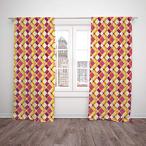 SCOCICI Satin Window Drapes Kitchen Curtains [ Retro,Old Fashioned Plaid Pattern Crosswise Lines in Warm Colors Classical Geometrical Decorative,Fuchsia Yellow] Bedroom Living Room Dorm Kitchen Cafe (Plaid Color Pattern Split)