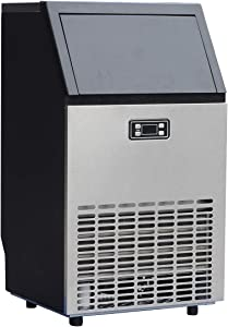 Smad Commercial Ice Maker Machine Undercounter 11~20 Minutes Quick Ice Making Cycle 99 lbs/24 hrs Storing Ice 33lbs, Freestanding Ice Maker for Bar, Coffee Tea Shop or Restaurant