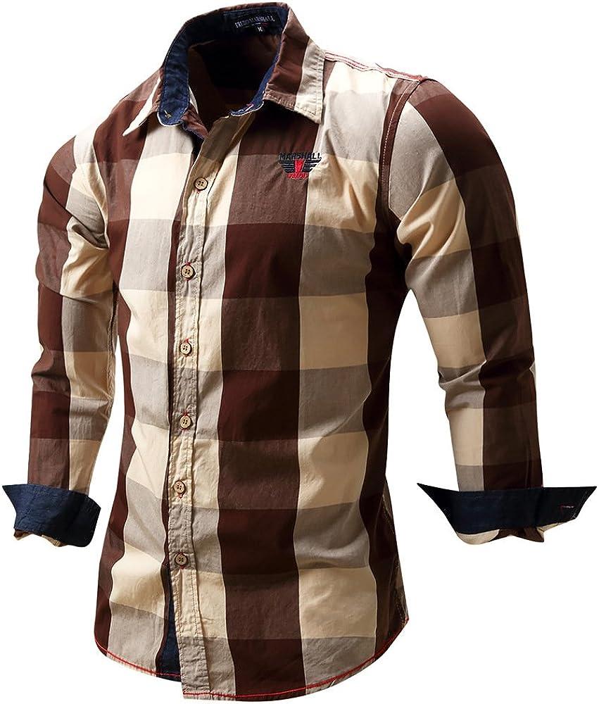 FREDD MARSHALL Men's Long Sleeve Slim Fit 100% Cotton Plaid Shirts
