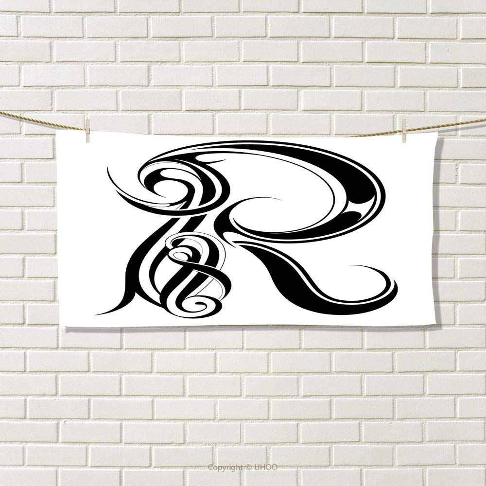 Amazon com: smallbeefly Letter R Travel Towel Gothic