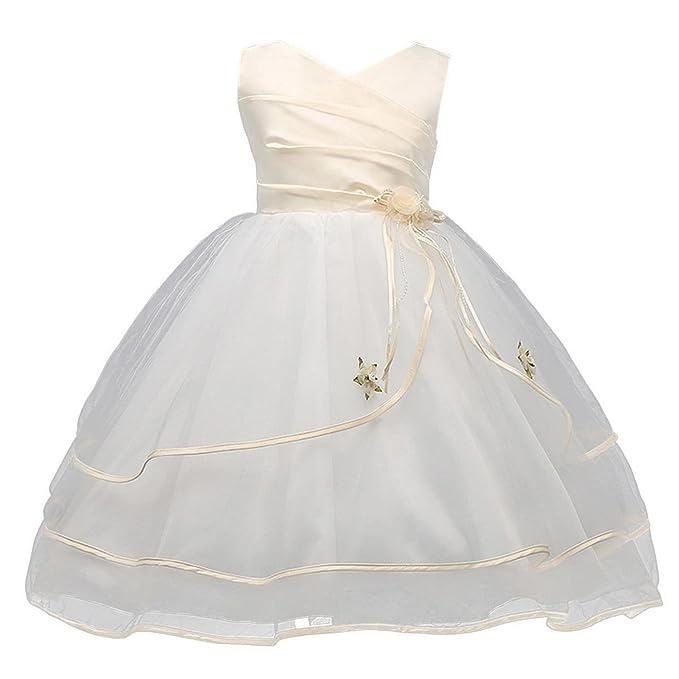 Happy Cherry - Vestido de Flores Niñas para Boda Fiesta Falda Princesa sin Mangas Vestido Corto