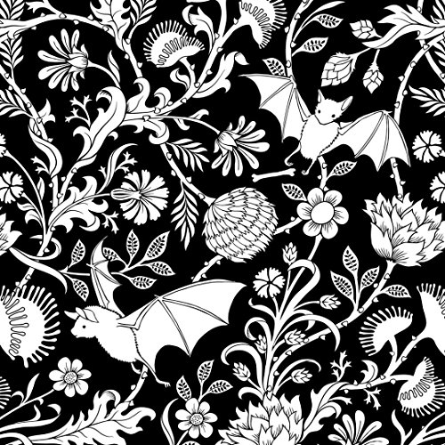 Bat Botanical Curtains and Valances, Black and White Elysian Fields Window Treatments