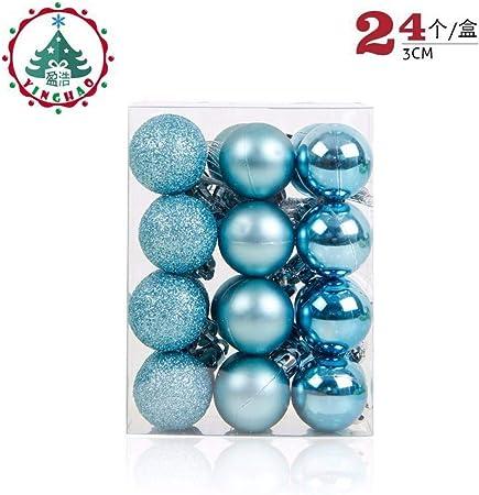 LRXMAS Jeu De Boule De Noël,24Pcs 3Cm Boules Bleu Ciel,Arbre ...