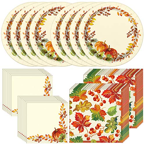 Unique Watercolor Fall Pumpkins Tableware Essentials | Plates, Luncheon & Beverage Napkins | Autumn, Fall, Thanksgiving Table Decorations