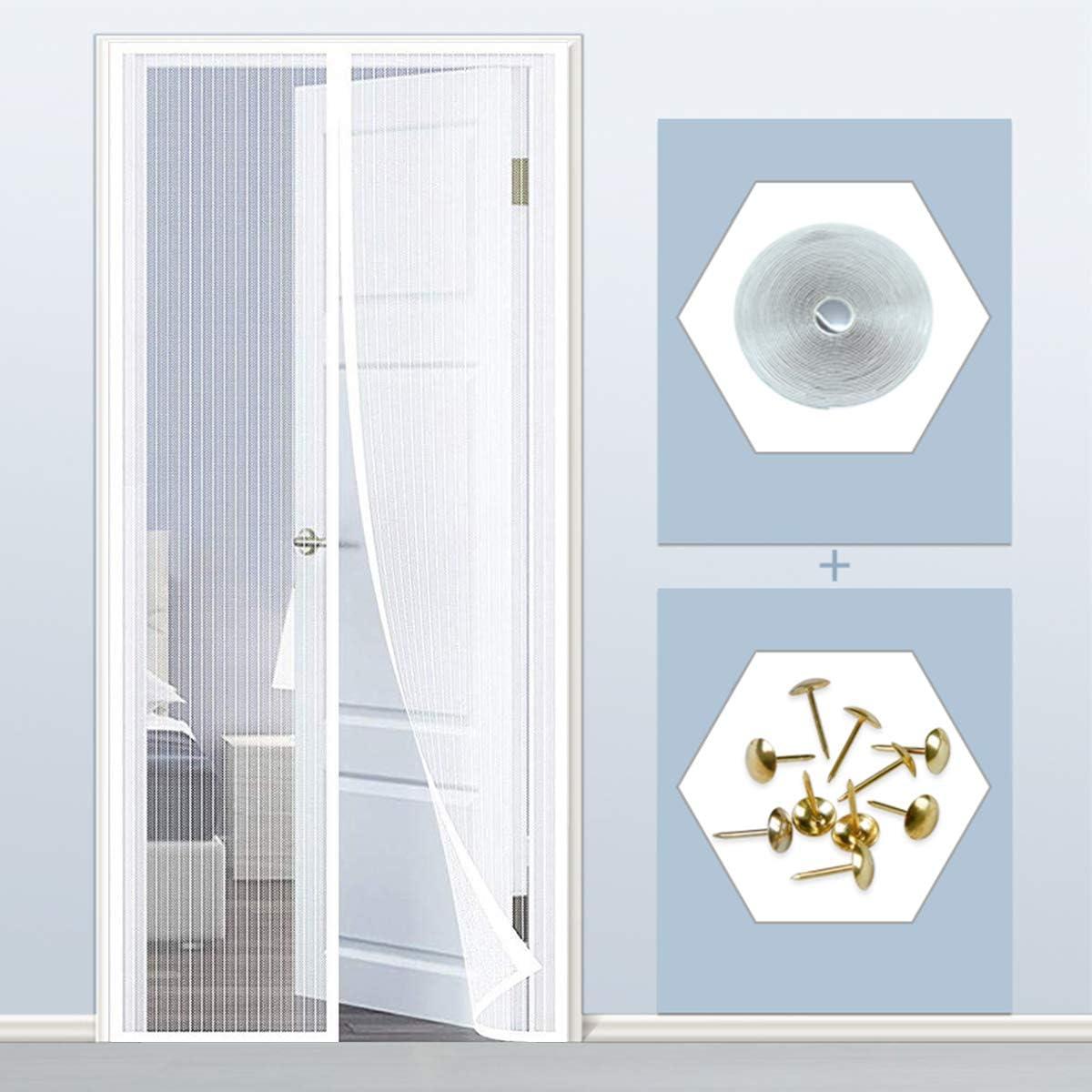 THAIKER Mosquitera Imanes Magnetica, 80x210cm(31x83inch) Mosquiteras para Puertas Magnética Automático con Durable para Puertas Correderas, Blanco A: Amazon.es: Hogar