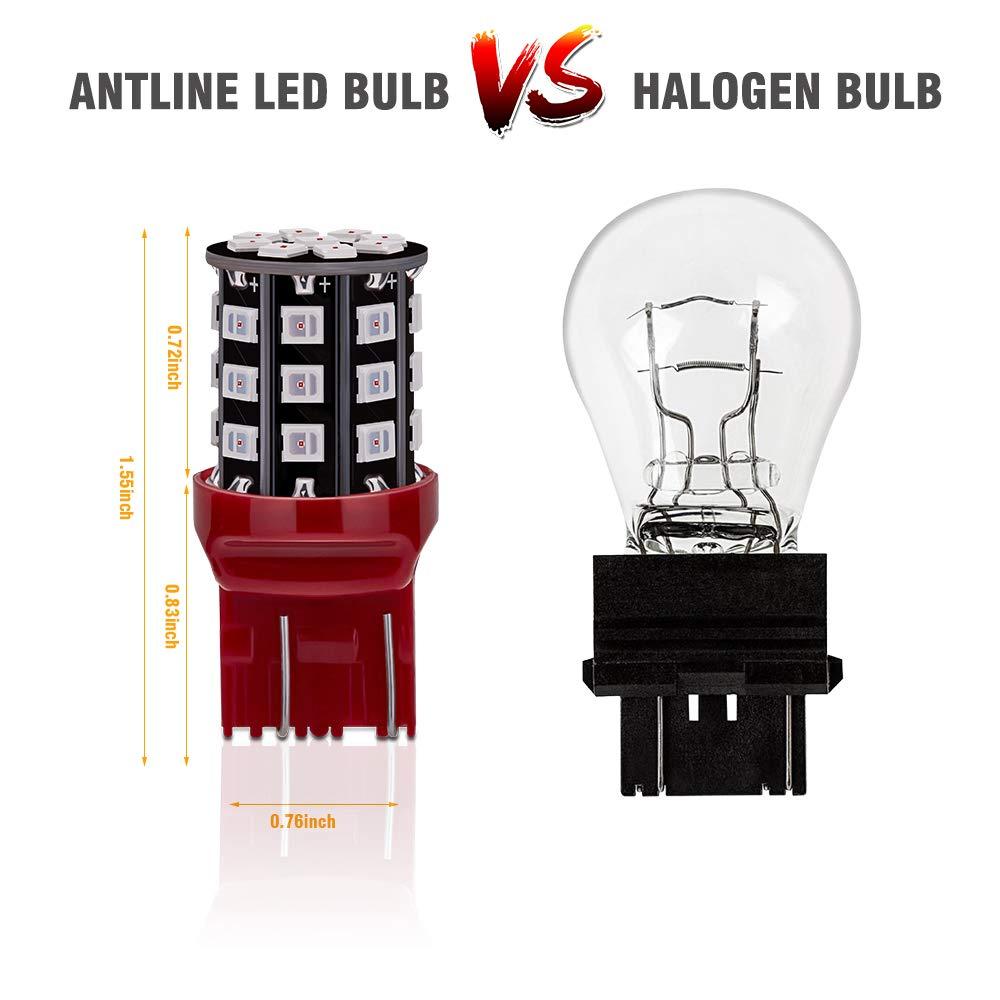 Antline 3157 3156 3057 4157 3056 LED Bulbs Brilliant Red Parking Light 12-24V Super Bright 800 Lumens Replacement for Tail Brake Lights Turn Signal Lights Pack of 4