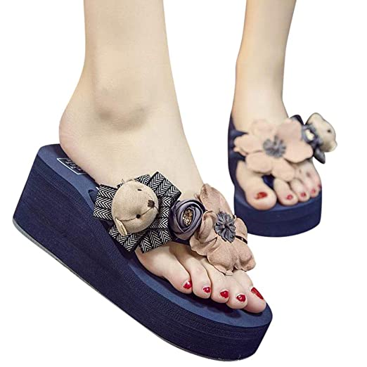991bc241271f Womens Wedges Platform Cartoon Floral Flip Flops Thong Sandals Slippers  Thick Sole Sandy Thong Beach Shoes