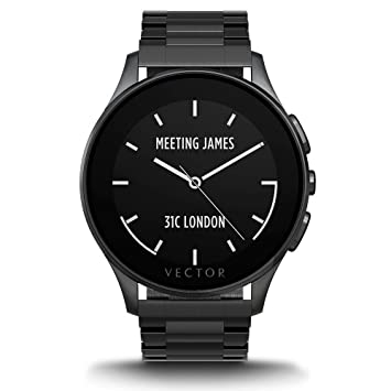 Vector L1-10-006 Luna - Smartwatch de acero inoxidable, 46 mm, color negro