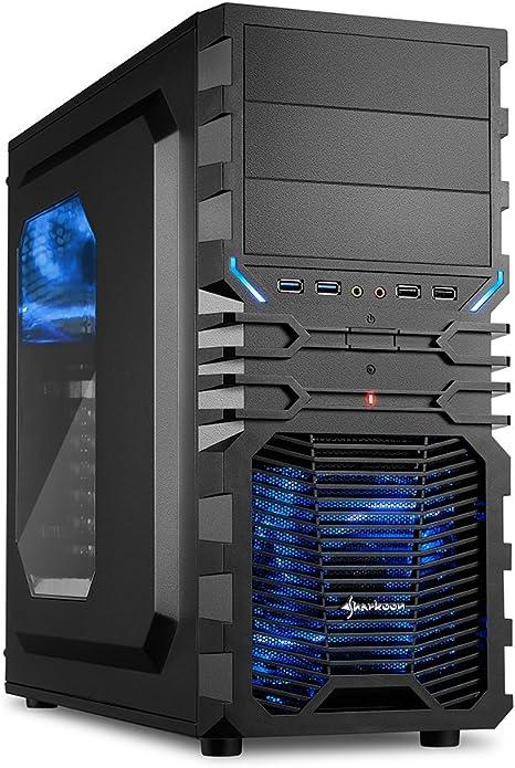 """Sharkoon VG4-W - Caja de ordenador gaming (semitorre ATX, iluminación y lacado interior AZUL, lateral acrílico, incluye 2 ventiladores LED, 3 bahías de 5,25""""), negro: Sharkoon: Amazon.es: Informática"""