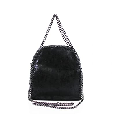 Womens Mini Stella Design Chain Detail Tote Bag Ladies Shoulder Handbag  Work New Black 55cbaf5f70