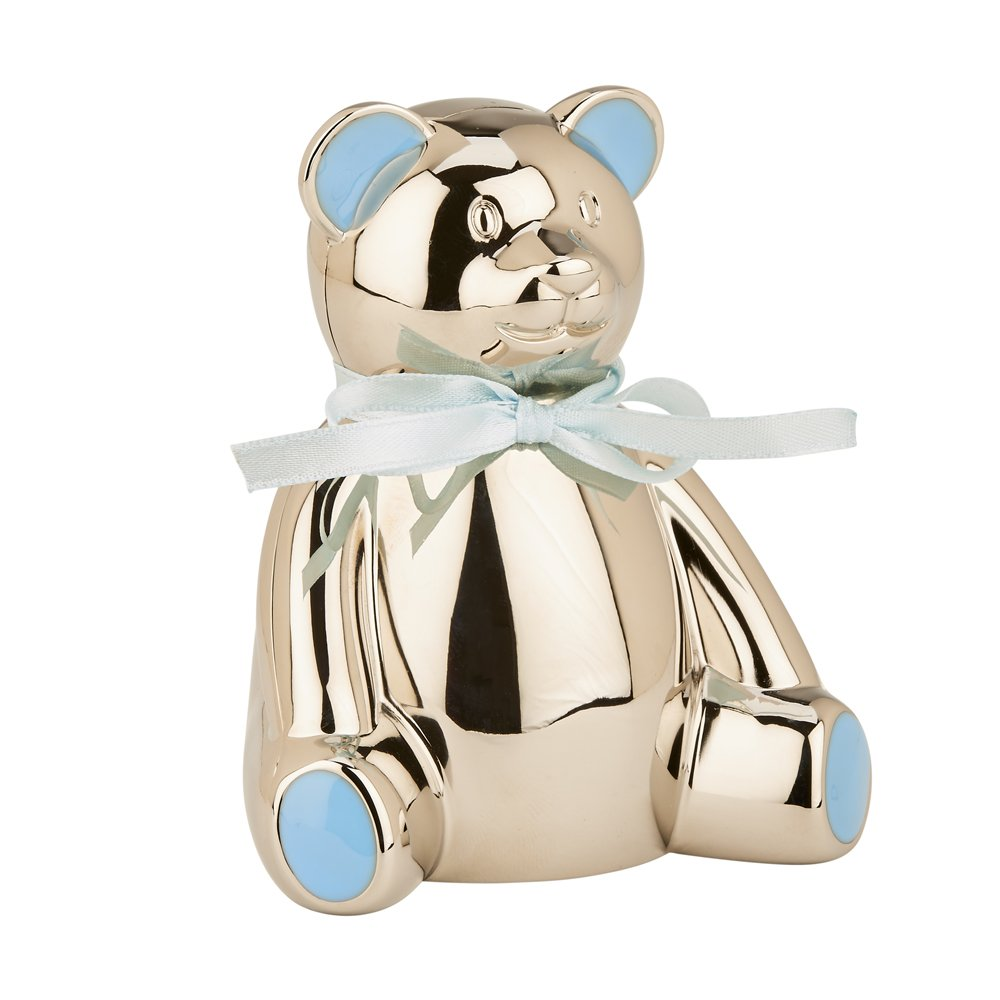 Teddy Bear Bank with Blue Accents, 4'' H