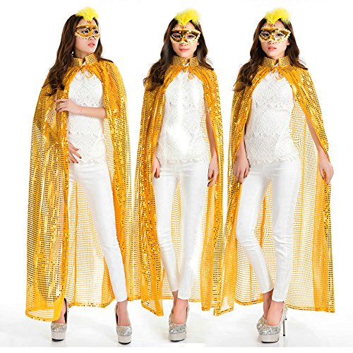 Halloween Women Cape, Sequins Fabric Cloak ,4.6 ft Length 5.9 ft Width, Thin Lightweight Lengthcloak for Halloween, Party, Cosplay. (Gold) (Female Chewbacca Cosplay)