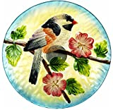 Royal Wing 2-in-1 Glass 11.8 in. Decorative Hand-Painted Glass with Chickadee Design Bird Bath / Feeder / Waterer on 23 in. Metal Ground Stake With Leaves