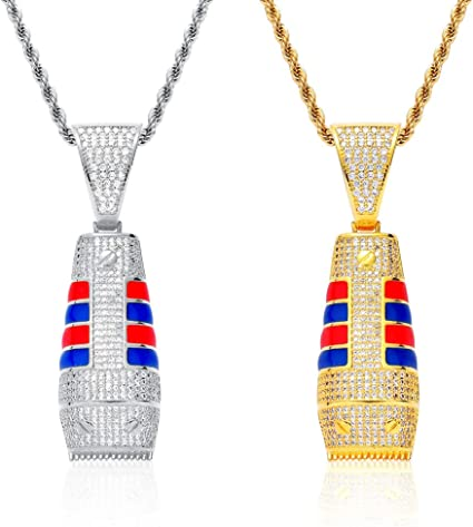 2-Pack Punk Collares pendientes para hombre, Vintage Red And Blue ...