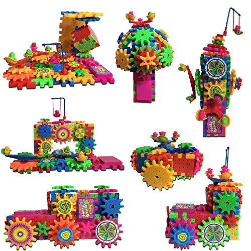 81 Piece GEARS Building Toy Set 3D Puzzle SAFER and more DURABLE then other brands - Motorized Gear Set