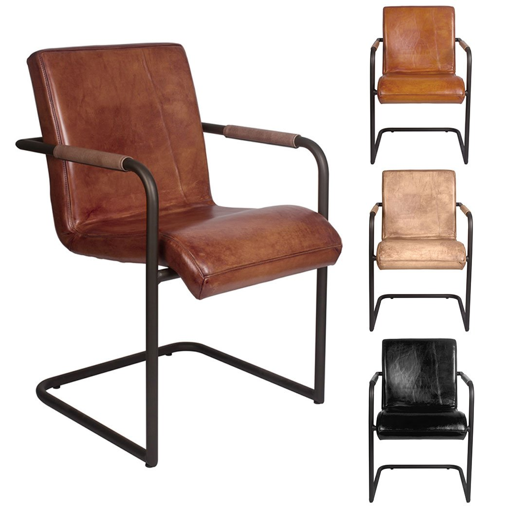 Außergewöhnlich Büffelleder Stuhl Galerie Von Freischwinger Glatt Büffelleder, Echtleder – Trialdesign, Metallgestell