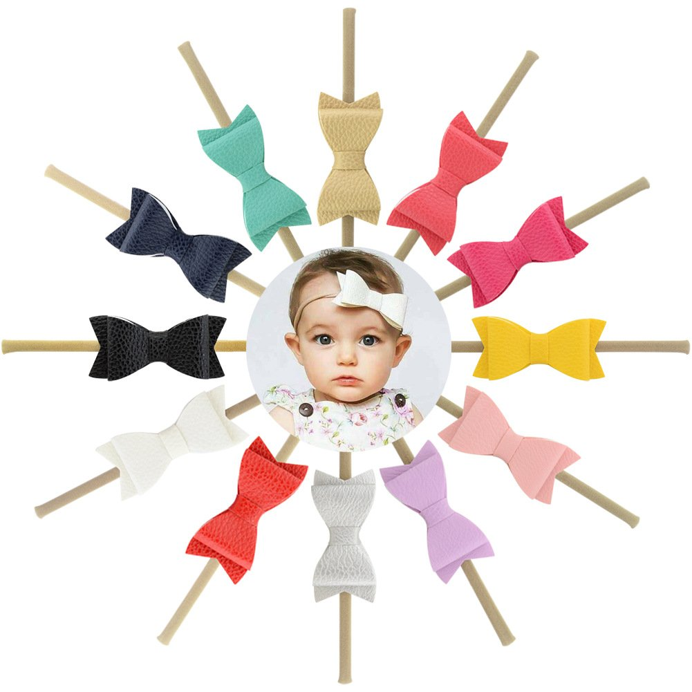 inSowni 12pcs 3'' Faux Leather Bow Nylon Headbands for Baby Girl Toddler Newborn Kids (12PCS Bow S6)
