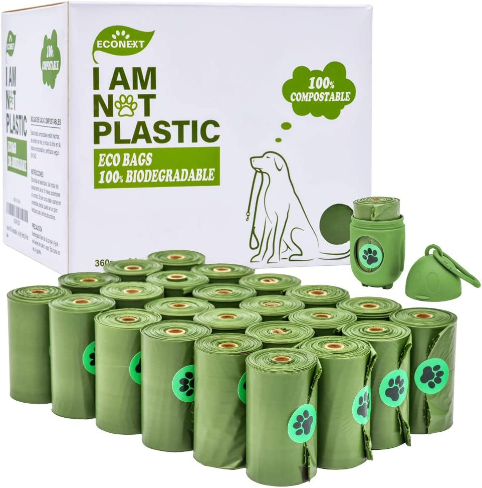 Dog Poop Bag,100% Biodegradable and Compostable Poop Bags for Dogs and Cats,Super-Thick and Leak-Proof Dog Waste Bags, Leakproof and Zero Odor Green, Easy to Tear Off, Earth Friendly