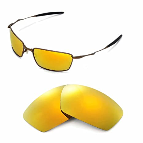 a90b27ea58 Walleva Replacement Lenses for Oakley Square Whisker Sunglasses - Multiple  Options Available (24K Gold Mirror