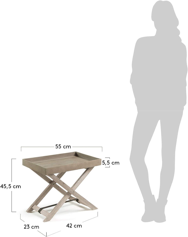 Kave Home - Mesa Auxiliar Plegable Merida Rectangular 55 x 35 cm de Cemento con Estructura de Madera Maciza de Acacia para Interior y Exterior: Amazon.es: Hogar