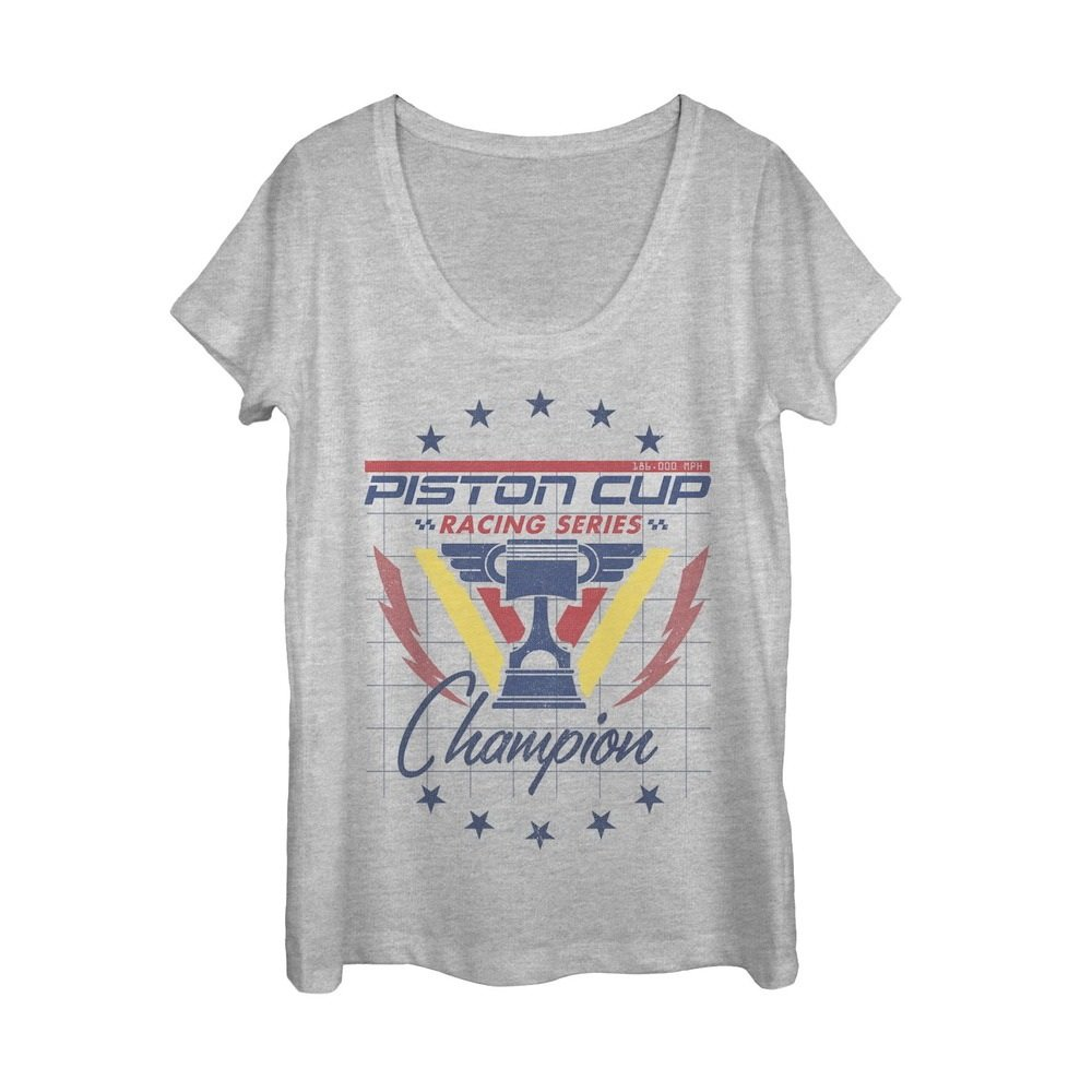 Cars Women's Piston Cup Champion Athletic Heather Scoop Neck T-Shirt