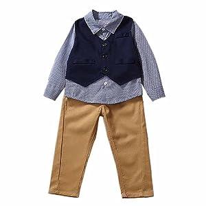 HANYI Newborn Baby Boy Clothes Sets Suit 3pcs (4T, Navy)
