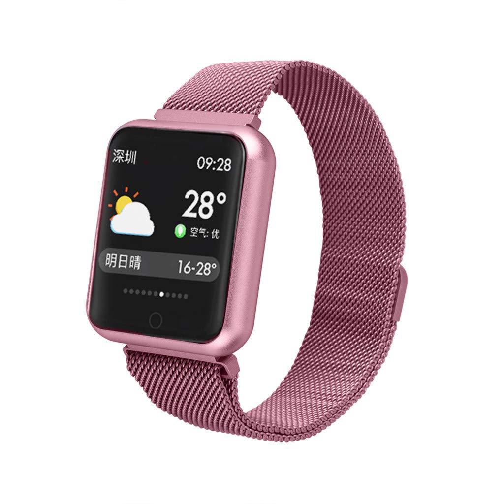 FEDULK Smart Watch Heart Rate Blood Pressure Monitor Sports Fitness Tracker Bracelet Bluetooth Smart Wristband(Pink)