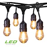 Jslinter Outdoor String Lights Plug in 48 Ft UL Listed Commercial Grade Waterproof IP65 Hanging Light with 1 Watt S14…