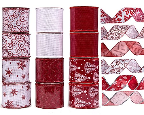 12 Rolls Christmas Ribbon, ARCCI Swirl Wired Edge Sealing Sheer Glitter Gift Wrapping - 36 Yards (12x3yd) 2.5 Inch Width - White/Red