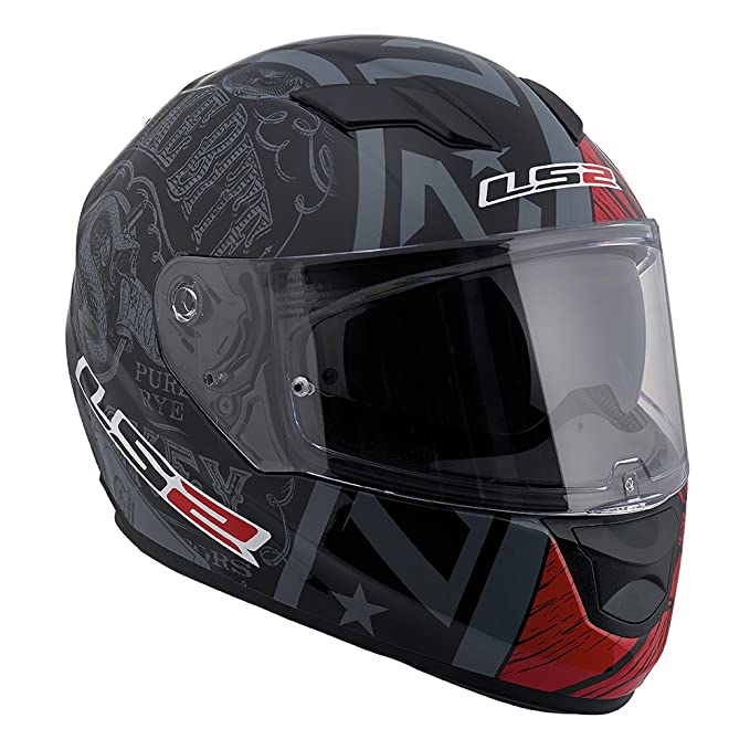 Amazon.es: LS2 Stream Snake Full Face Motorcycle Helmet With Sunshield (Red/Black, Large) by LS2 Helmets