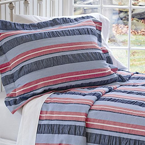 Orvis Tri-color Stripe Seersucker Bedspread / Full, Sky Blue Stripe, Full