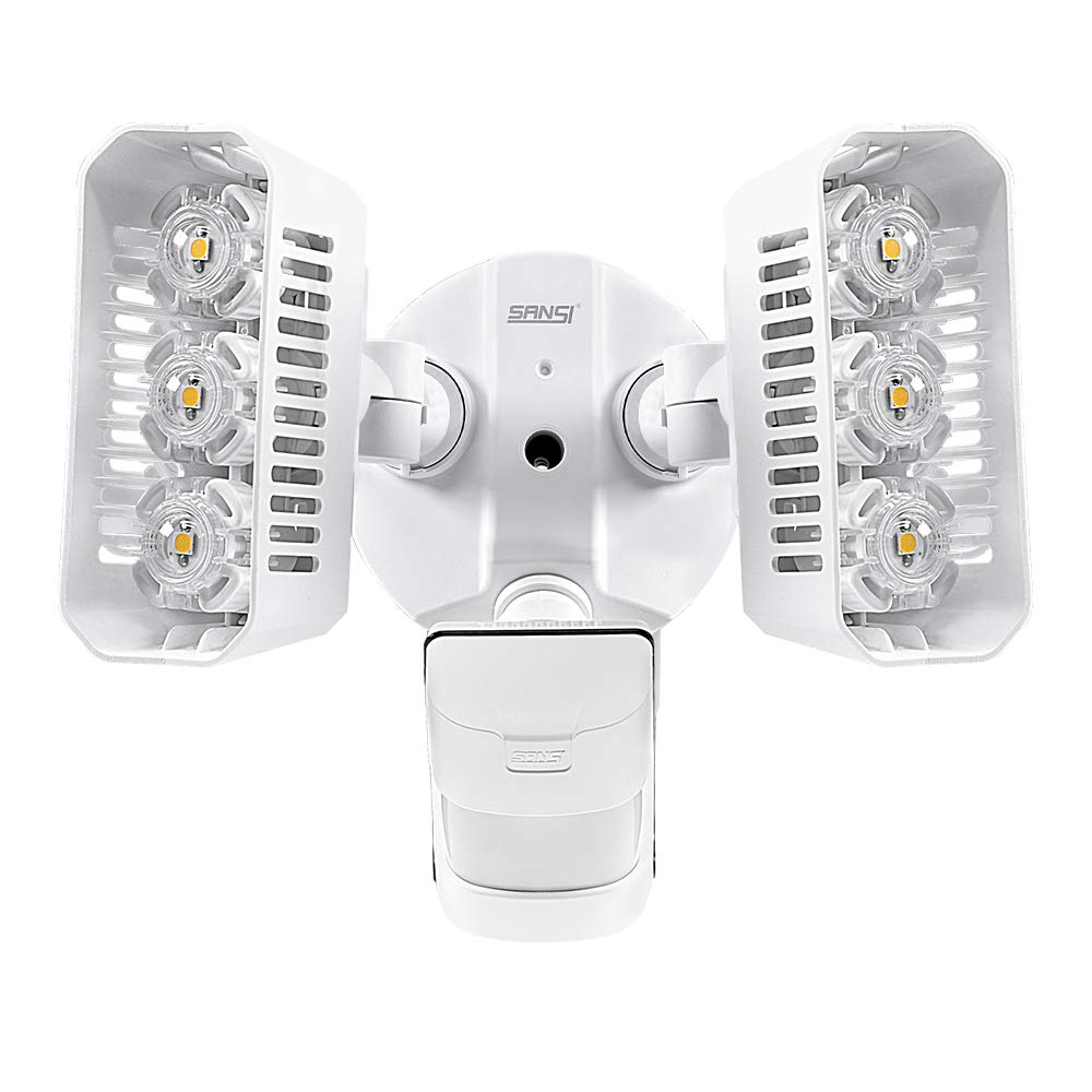 SANSI LED Outdoor Motion-Activated Security Lights, 27W (200W Equiv.) 2700lm, 5000K Daylight, Waterproof Flood Light with Adjustable Head, 5 Year Warranty, White by SANSI