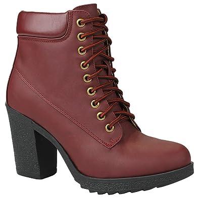 9a263c9802e JJF Shoes Women JoJo Wine Military Two Tone Lace Up Platform Chunky High  Heel Ankle Booties