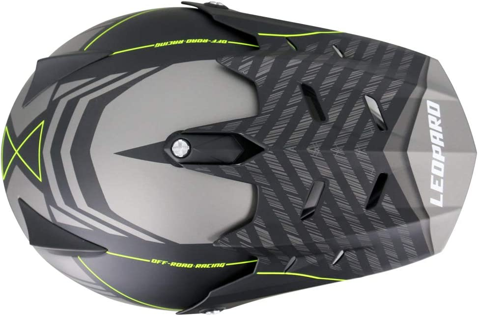 Matt Black XS 53-54cm - Dirt Bike MX Crash Helmet Leopard LEO-X307 Dual Sport Motorbike Motocross Helmet ECE Approved