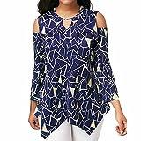 Blouse For Women, HOT SALE !! Farjing Fashion Women Cold Shoulder Long Sleeve Asymmetric Printed T-Shirt Tops Blouse(US:4/S,Blue)
