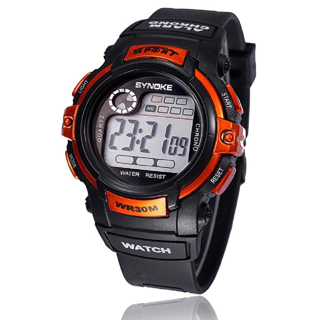 Feixiang♈Reloj De Pulsera MultifuncióN Boy Digital Led Fecha De Alarma De Cuarzo Deportes Impermeable WR30m Relojes Pulsera Digitales (Azul, A)