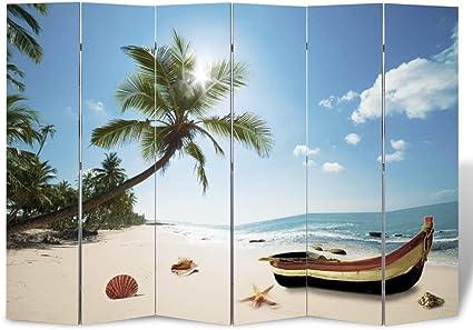Zora Walter Plegable de Fotos Sirve Biombo Separador Playa paraviento Compone 240 x 180 cm for Dormitorio, Salón decoración: Amazon.es: Hogar