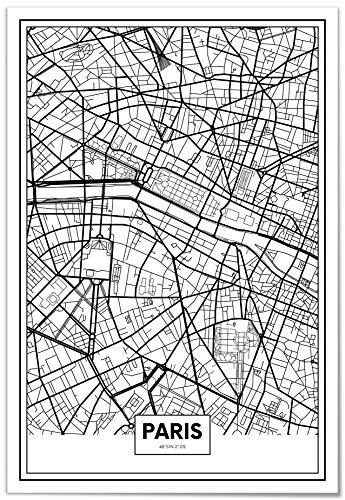 Panorama Poster Mapa de Paris 50x70cm - Impreso en Papel 250gr - Poster Pared - Cuadros Decoracion Salon - Cuadros para Dormitorio - Poster Decorativos - Cuadros Modernos